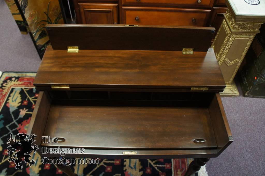 Antique Early American Style Mahogany Flip Top Secretary Writing Desk