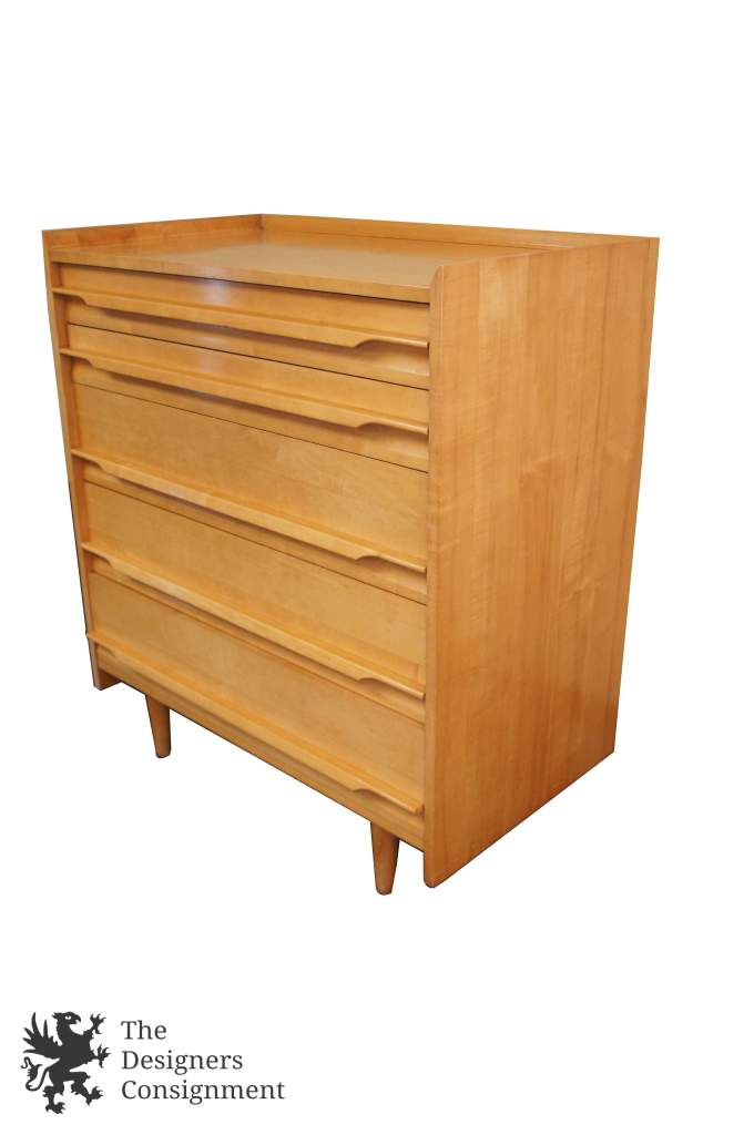 Crawford Furniture Mid Century Modern Solid Maple 5 Drawer Dresser Atomic  Danish Style