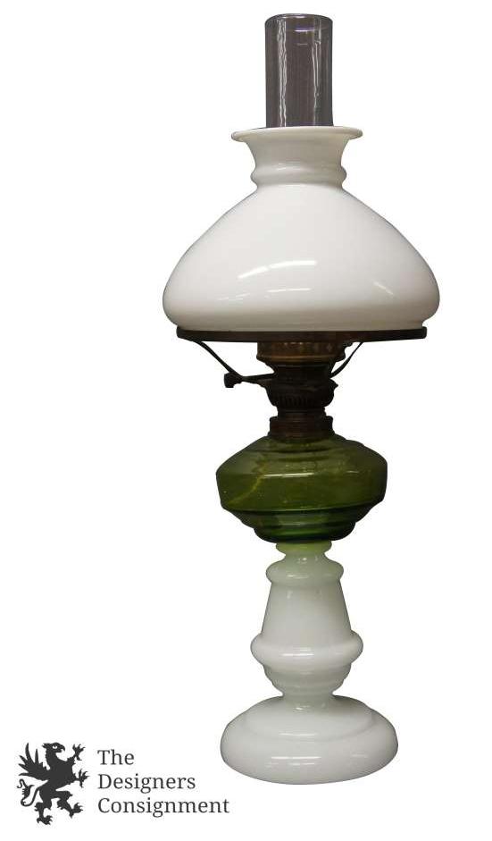 Antique Victorian Hurricane Oil Lantern Table Lamp Olive Green Milk Glass  Light