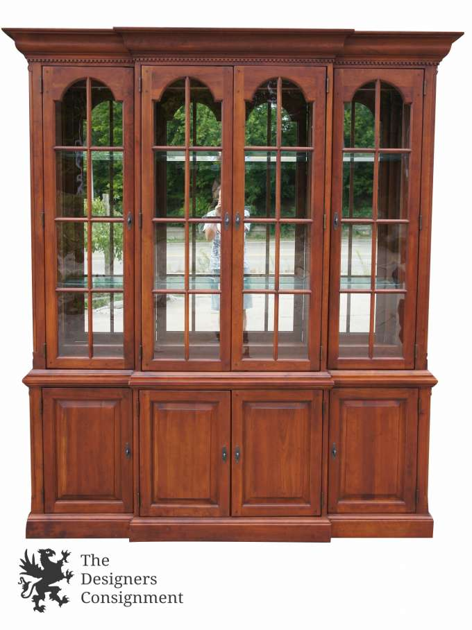 Bob Timberlake Lexington Pine Display China Cabinet Cupboard Mirrored  Lighting
