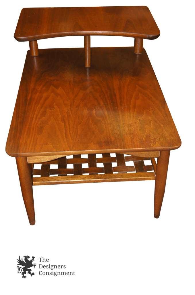 Mid Century Modern Lane Furniture Basket Weave Step Table 1960s 966 07 MCM  Nice