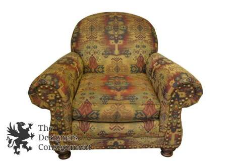 King Hickory Club Chair Vintage Southwestern Oversized Lounge Seat Contemporary